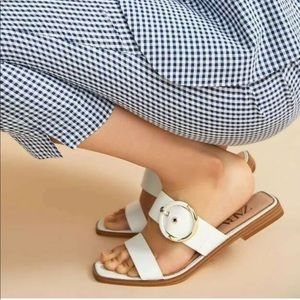 Zara flat leather sandal with gold buckle